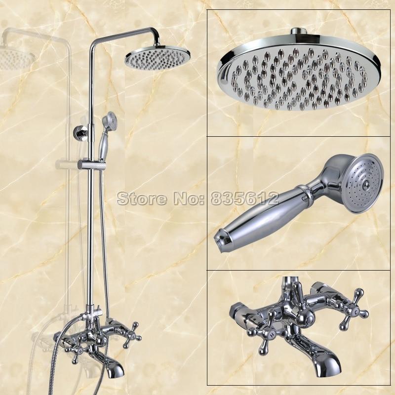 shower fixture for clawfoot tub. chrome brass wall mounted rain shower faucet set w/ bathroom cross handles clawfoot tub mixer fixture for s