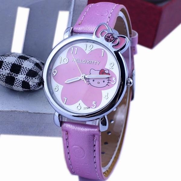Popular Children's Cartoon Hello Kitty Watch Flower Background Water Diamond KT Cat Pink Belt Female Student Quartz Watch