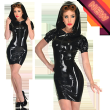 Plus Size Black PVC Dress Hooded Bodycon PU Leather Dresses Vinyl Latex Sexy Catsuit Costume Catwoman Bondage Clubwear Clothes