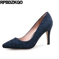 High Heels Size 4 34 Blue Medium Plus Scarpin 10 42 33 Suede Shoes Women Evening