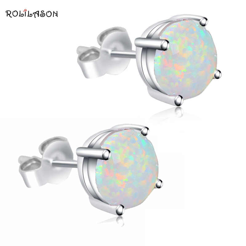 Wholesale & Retail Simple style White Fire Opal 925 sterling Silver Stamped Stud Earrings Fashion Jewelry Opal Jewelry OE118