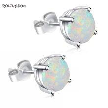 3d6933b95d6b Al por mayor y al por menor estilo Simple White Fire Opal plata esterlina  925 estampada pendientes moda joyería Opal OE118