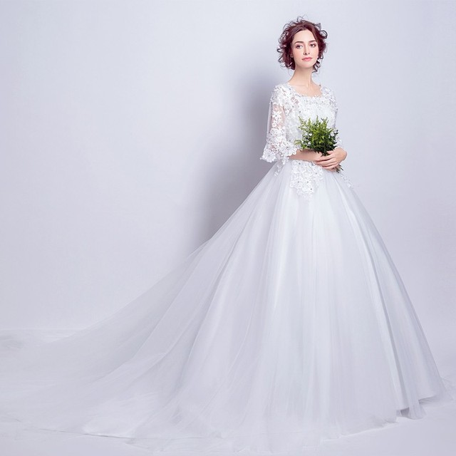 New ivory weiß braut brautkleid spitze Prinzessin stil taille kleid ...