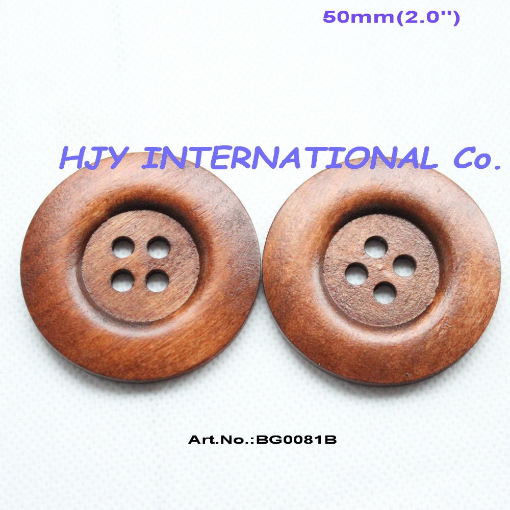 (10pcs/lot) <font><b>50mm</b></font> Huge Wooden Sewing <font><b>Button</b></font> Coat Hat Wood Butons Bulk 2.0