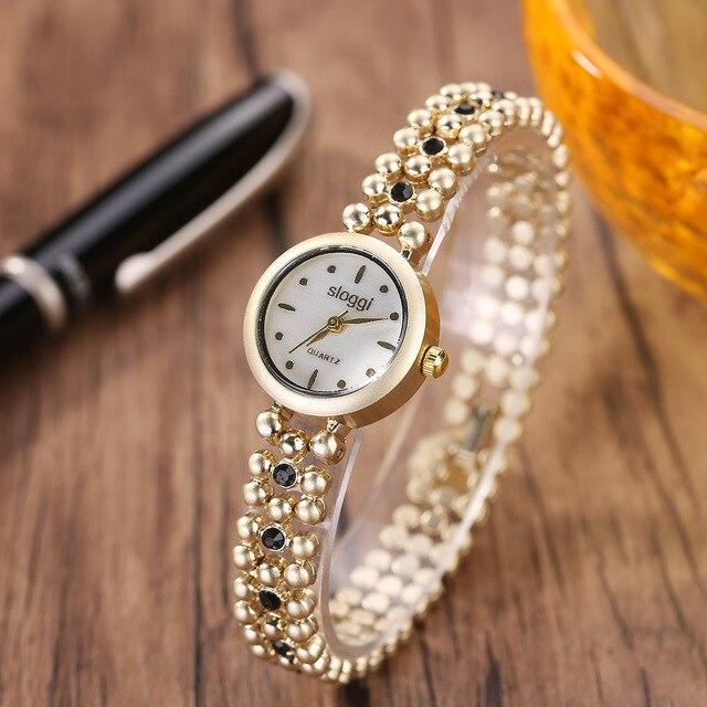 Famous Brand Sloggi Women Metal Watch Bracelets Vintage Golden
