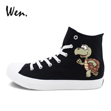 Wen Original Black Canvas Shoes Design Tortoise Rabbit Hare Cartoon Sneakers White Men Women's Skateboarding Shoes High Top