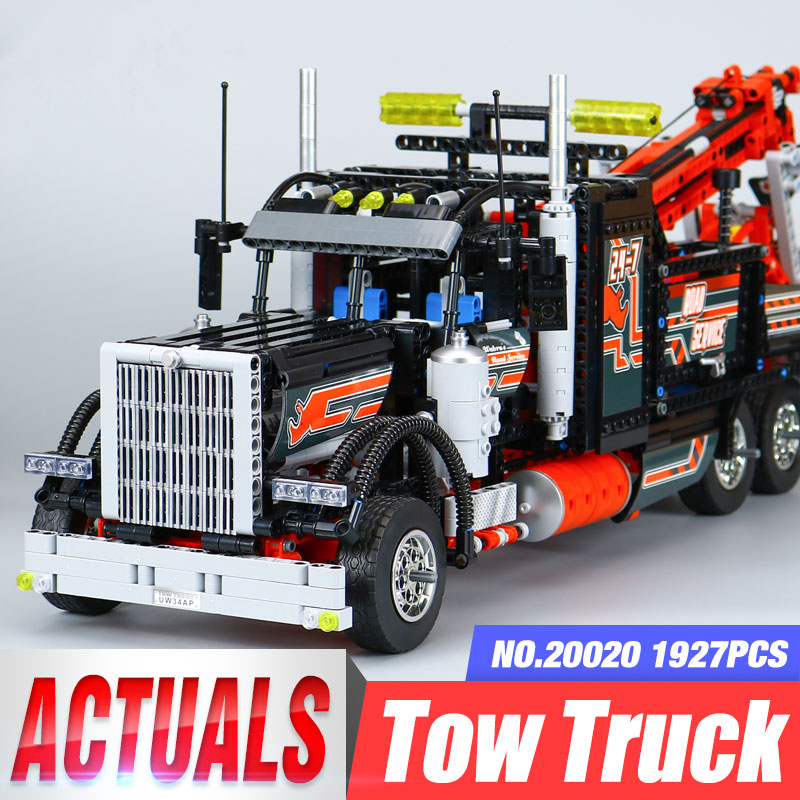 DHL 20020 Technic Ultimate Series 8258 Mechanical American Style Heavy Container Trucks Building Blcoks Bricks Toy