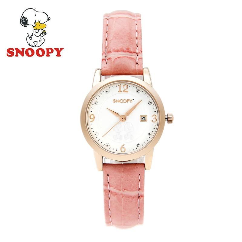 Snoopy Kids Watch Women Children Rhinestone Calendar Waterproof Casual Fashion Cute Quartz Girls Leather Strap clock
