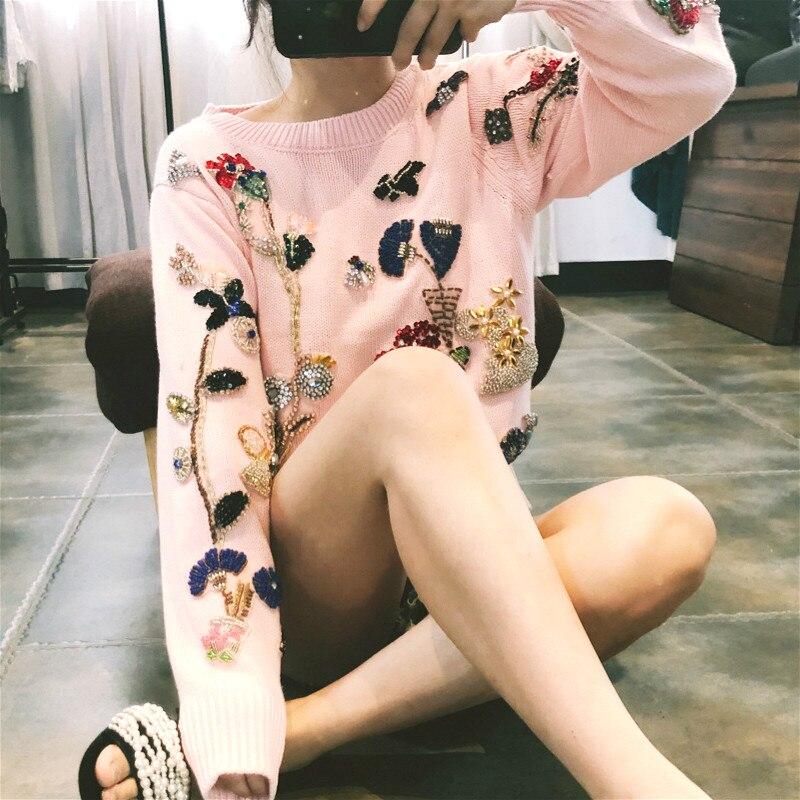 De Lâche En Perles Sweater Pull Diamant Flowear Belle Élégant Tricot Hiver Design Pink Luxe Piste Marque Femmes Chaud Pulls 4wRBF