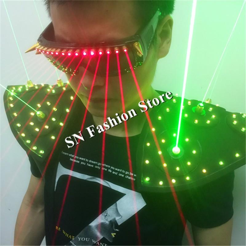 T16 Colorful light ballroom laser vest dj laser costumes dance wears laser glasses red laser suit led clothes shoulder led vest 12