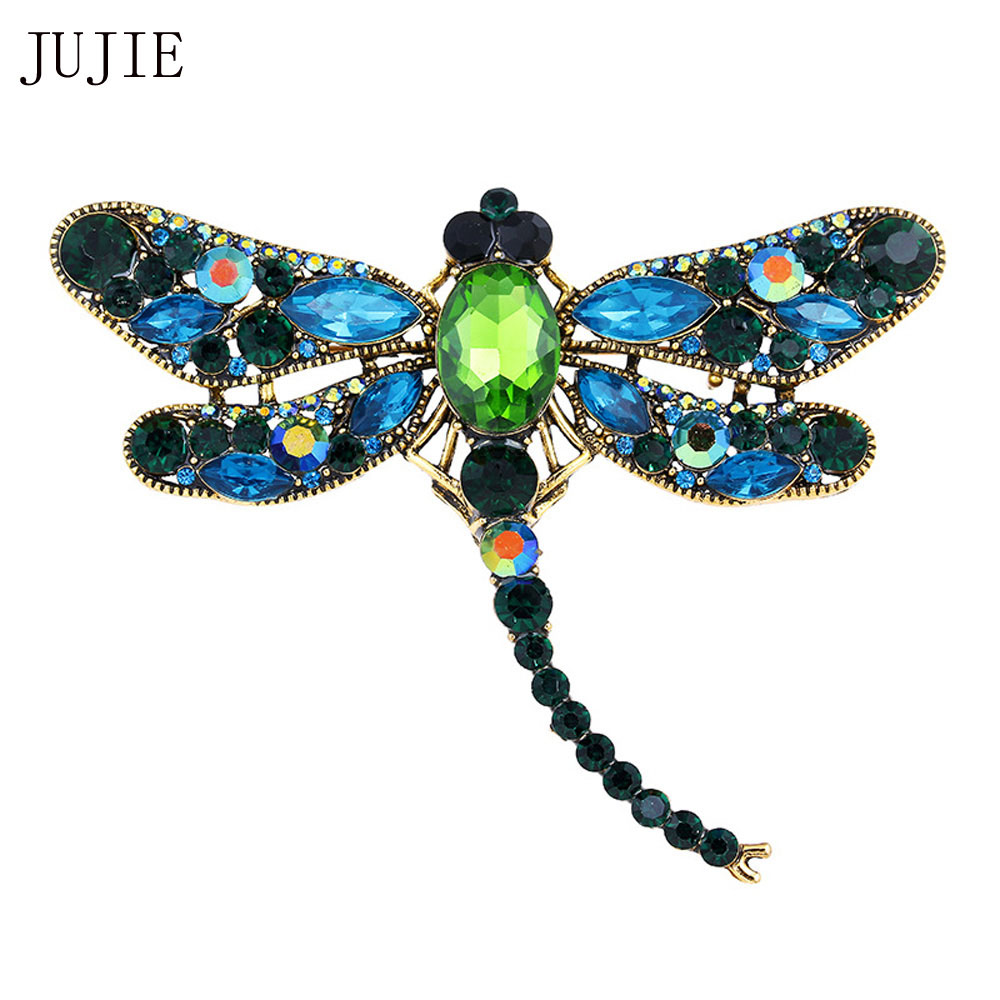 JUJIE Dragonfly Brooches For Women 2017 Fashion Crystal Brooch Scarf Lapel Rhinestone Brooch Pins Animal Jewelry