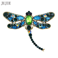 JUJIE Fashion Brooches Crystal Dragonfly Brooches For Women Scarf Lapel Vintage Brooch Pins Animal Jewelry Dropshipping