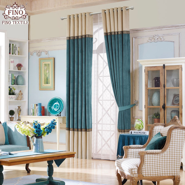 Modern Solid Window Curtains For Living Room Teal Curtain Fabric ...