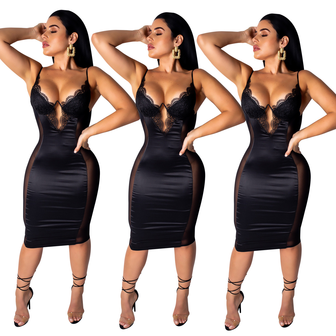 2019 Summer Bodycon Birthday Dress Women Lace Mesh Party Dresses Ladies Sexy Sling Backless Slim Midi Black Club Dress Plus Size in Dresses from Women 39 s Clothing