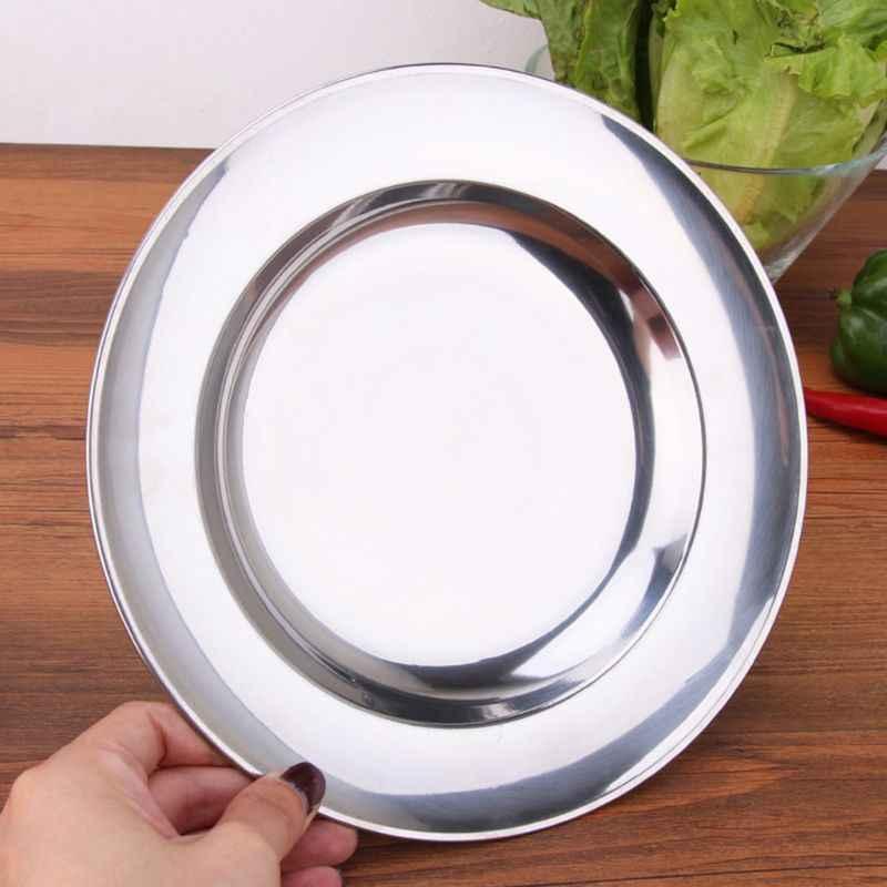 스테인레스 스틸 라운드 저녁 식사 접시 접시 트레이 음식 컨테이너 야외 캠핑 피크닉 식기 16-24 cm #404