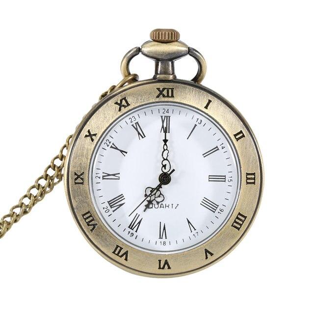 Lover Necklace Gift Vintage Transparent Design Pocket Watch Roman Numer Dial Qua