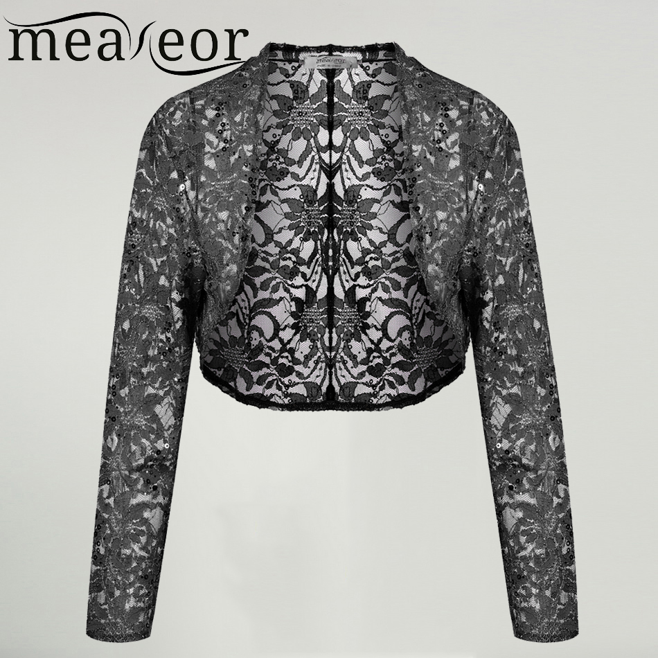 Meaneor Brand Knit Bolero Shrug Women Casual 3/4 Sleeve Lace Floral Light Crop Open Stitch Cardigan Short All-match Shawl Wrap