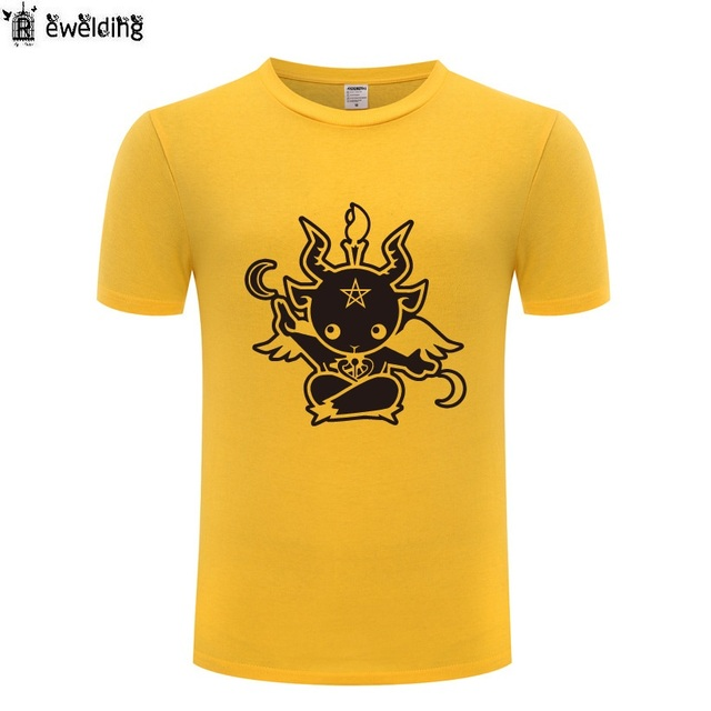 pretty nice f0efb a4747 Nette Satanic Ziege Baphomet Gedruckt T shirt Männer Anime Baumwolle  Kurzarm Lustige Streetwear Fitness Shirt für Frauen