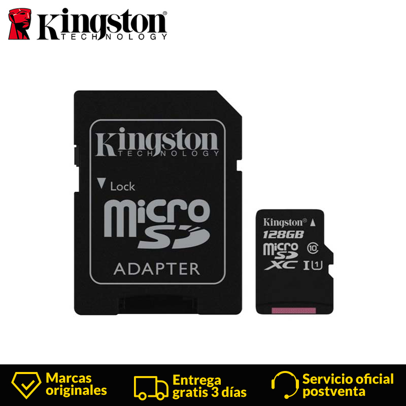 Kingston Technology Micro SD Card Canvas Select Class 10 128 GB MicroSDXC Class 10 UHS I 80 MB/s Black sd card+Adapter For phone