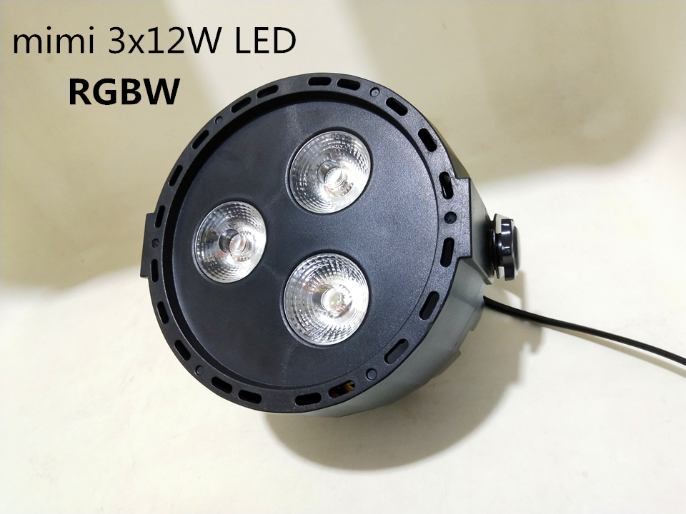 Mini 3x12W  4in1 RGBW  LED DJ  DMX Wash Light Stage Uplighting LED Flat SlimPar Quad Light No Noise
