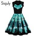 Sisjuly 1950 s vintage dress estampado floral 2017 de lujo corto a-line party dress patchwork green summer dress vestidos de época