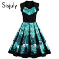 Sisjuly 1950s vintage dress  floral print  2017  luxury short A-line party dress patchwork green  summer dress vintage dresses