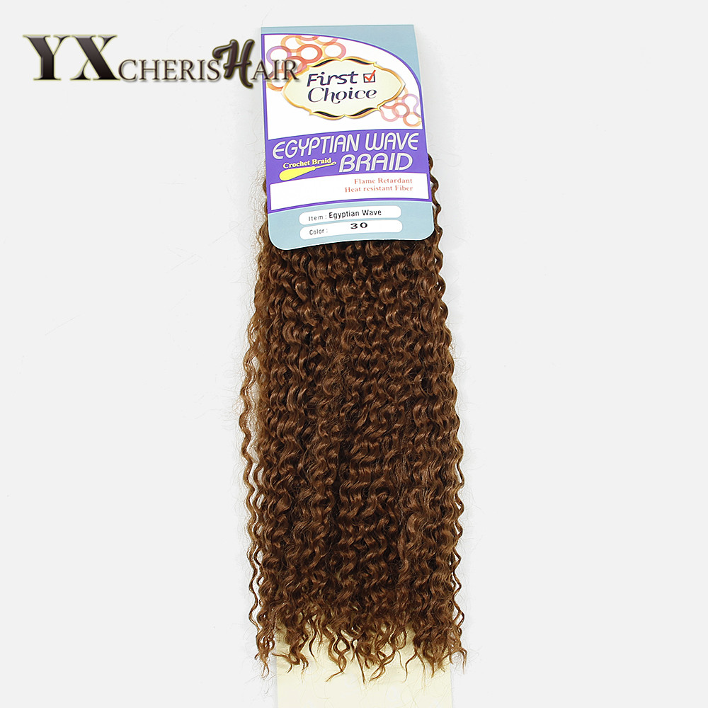 YXCHERISHAIR 18Egyptain Wave Braids Kinky Curly Hair Heat Resistant Weave Synthetic Hair Extensions Blonde Color Crochet Braids