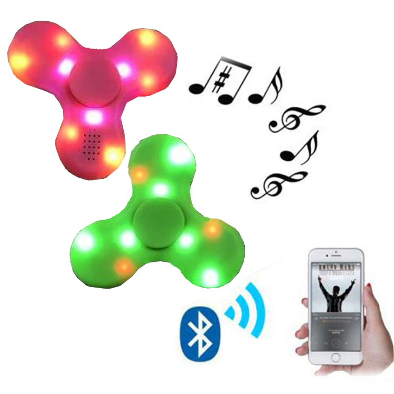 5pcs Fidget Spinner LED Bluetooth Hand Speaker,Controller Spinner Tri Spinning Top Decompression Finger Spiner, Speaker Control