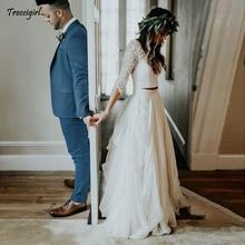 Boho Wedding Dress Long Sleeves  White Ivory Chiffon Lace Princess Two Pieces