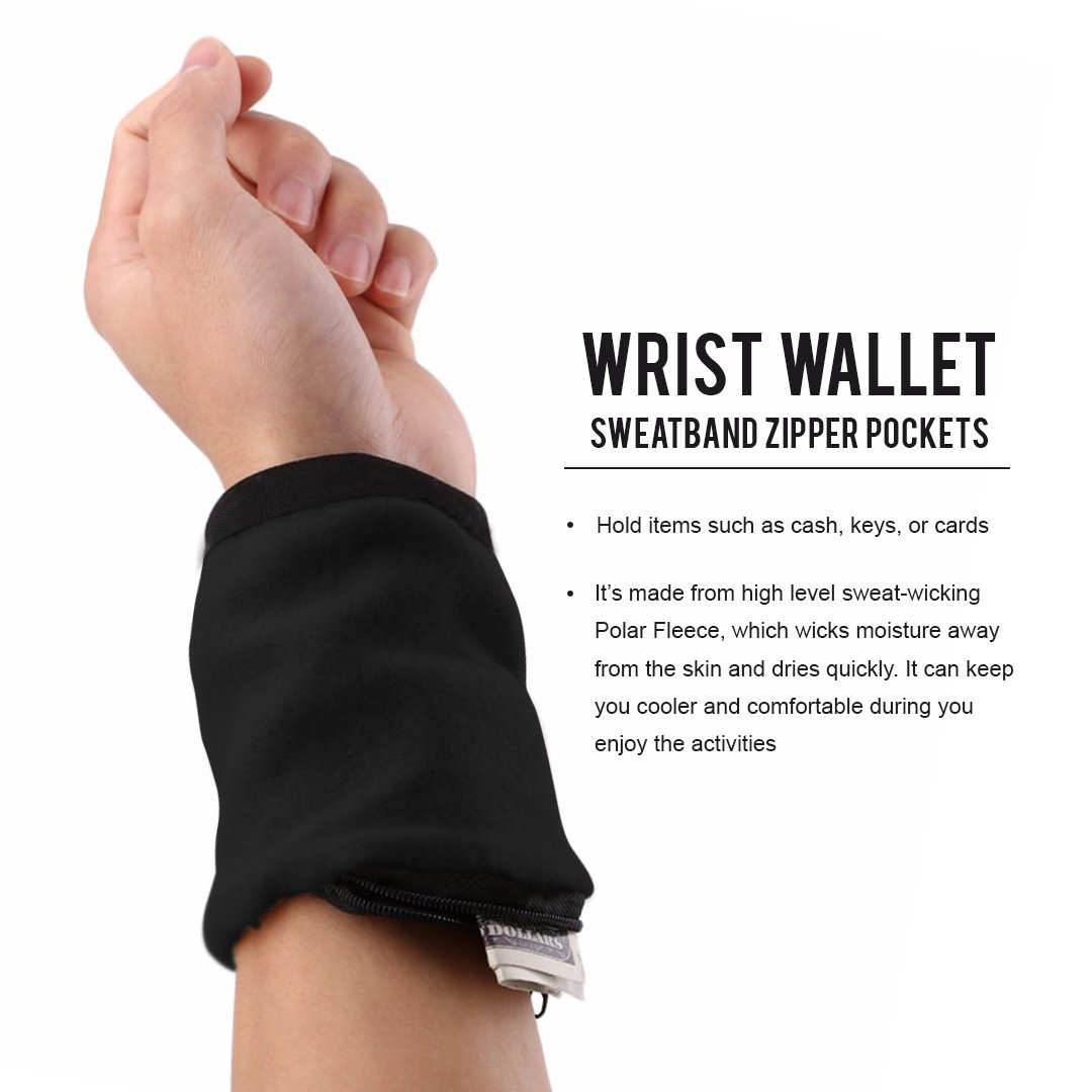 Unisex Running Travel Gym Cycling  Sport Wrist Wallet Pouch Band Fleece Zipper