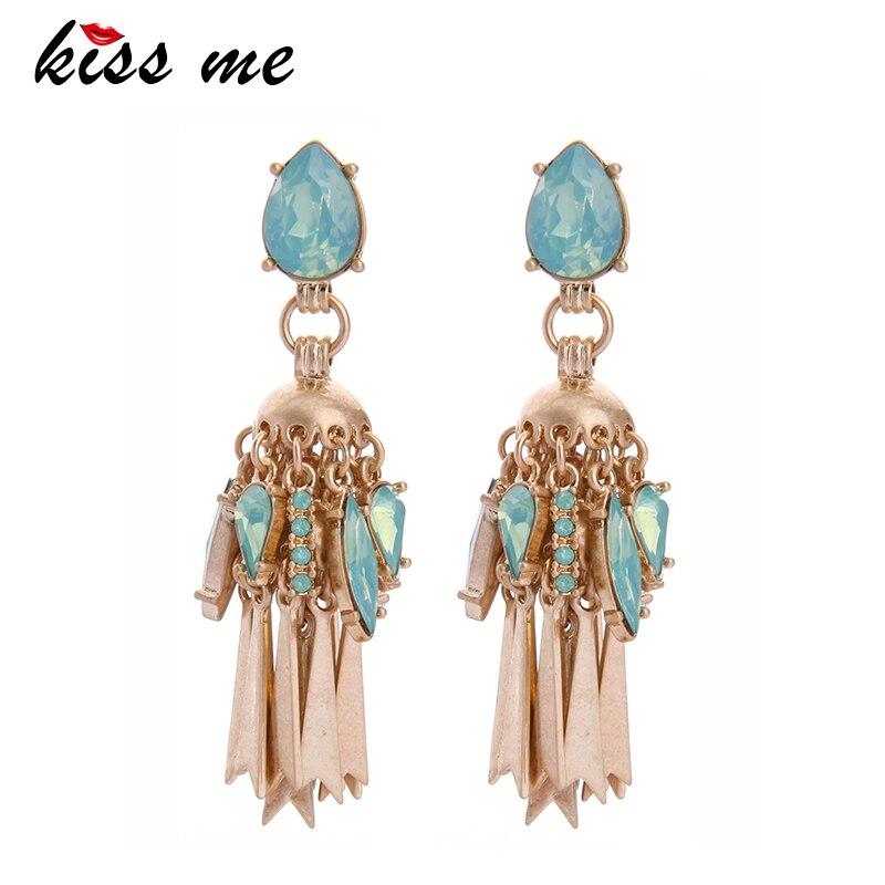 KISS ME Green Water Drop Antique Gold Color Tassel Earrings Women Vintage Drop Earrings Fashion Jewelry