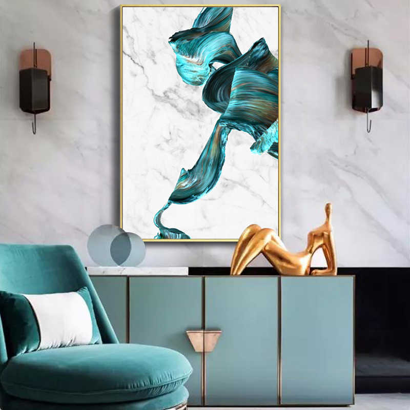 Large Modern Abstract Marble Blue Watercolor Canvas Print Paintings Wall Art Pictures POP Poster Living Room Office Home Decor