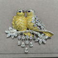 Yellow Double kiss birds brooch pins 925 sterling silver with cubic zircon Romantic fashion women jewelry  top quality