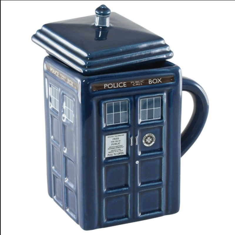 Hot Sale Doctor Dr. Who Tardis Coffee Mug With Lid Milk Mug Ceramics Cup thermos water bottle 400ml tea cups Christmas Gift