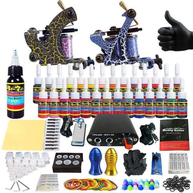 Complete Tattoo Kit for Beginner Starter Tattoo machine kit 2 Pro Machine Guns 28 Inks Power Supply Needle Grips Set TK204-36