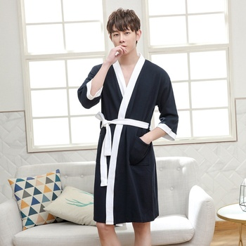 Men Bathrobe Kimono Robe Long Warm Cotton Super Soft Bath Male Dressing Gown Mens Robes Summer