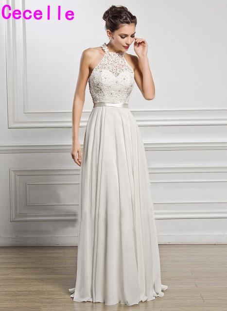 Us 117 08 30 Off 2019 New Arrival Simple Lace Chiffon Beach Wedding Dress Halter Floor Length A Line Informal Boho Bridal Gowns In Wedding Dresses