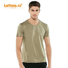 Бесплатная доставка-NEW Laynos HQ Summer Men's Round Collar Breathable lovers Short-sleeve Gym Sport Quick Тонкая сухая футболка 182A536A