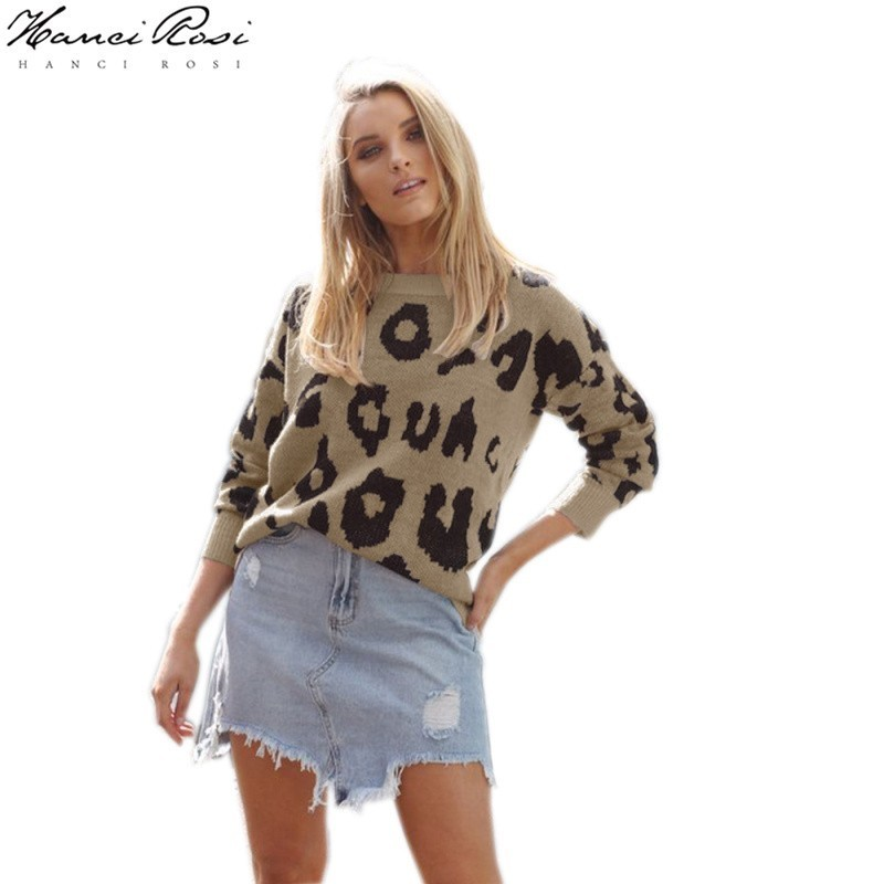 HANCI ROSI léopard Pull femmes automne femmes Pull Mujer chandail O cou Pull Femme à manches longues décontracté Streetwear lâche