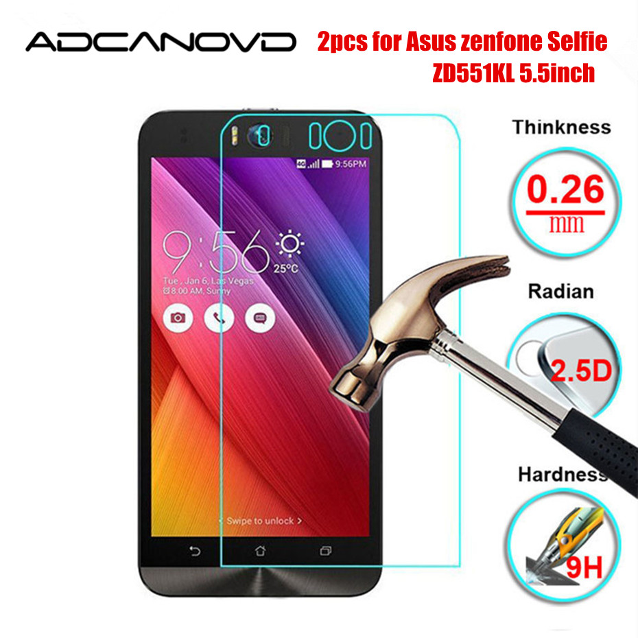 2Pcs/lot For Asus Selfie ZD551KL Z00UD Tempered Glass For Asus Zenfone Selfie ZD 551KLScreen Protector Protective Film