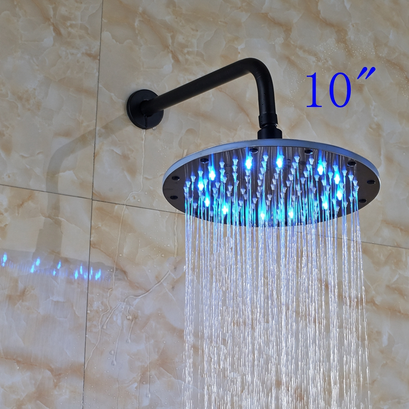LED 10 Rainfall Oil Rubbed Bronze Shower Head Round Top Sprayer W/ Wall Mount Shower Arm luxury led color changing 12 square rainfall shower head with brass wall mount shower arm oil rubbed bronze