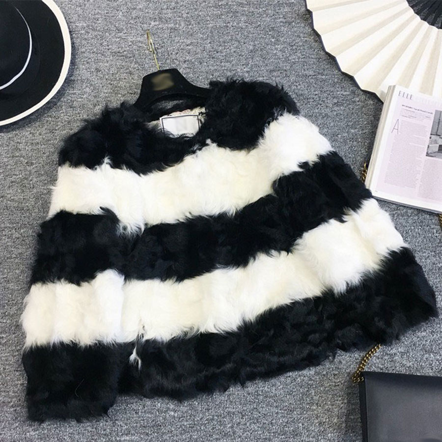 Women Short Fur Three Coats Quarter Sleeves Stripe Womens O neck Black White Stripe Fur Outcoats Female Slim Patchwork Outerwear