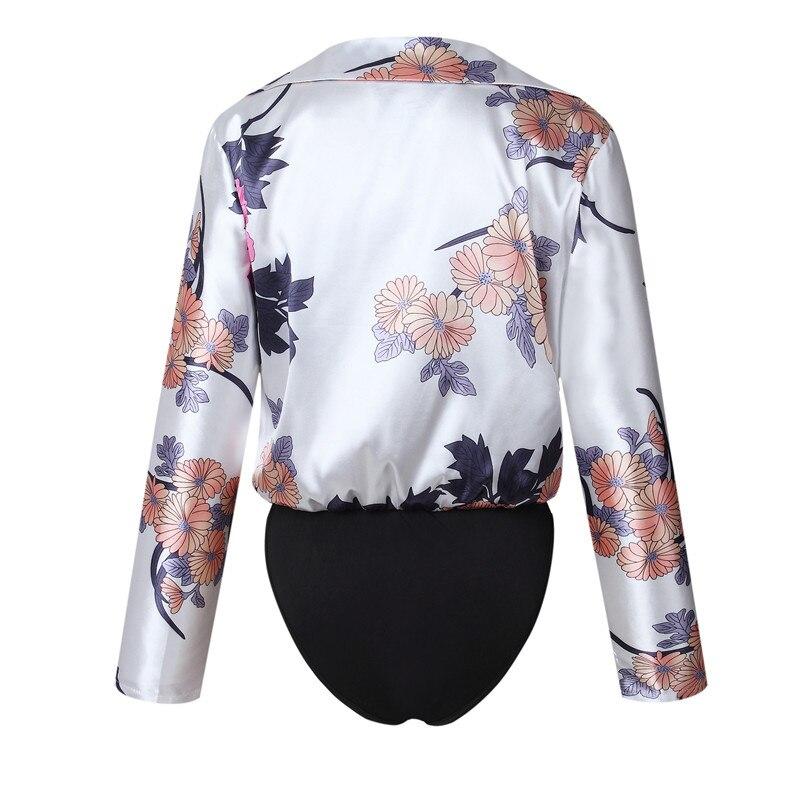 Boho Shirts Bodysuit Long Sleeve V Neck Elegant Women Short Jumpsuit Rompers Floral Print Sexy Playsuit High Quality Beachwear