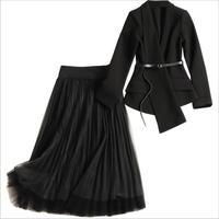 Women fashion black irregular asymmetric belt blazer + long pleated mesh skirt suit 2 piece set new 2018 autumn