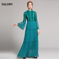 Floor Length Dress Formal Party Elegant Women Blue Pink Lace Floral Vestidos High Quality Chiffon Long