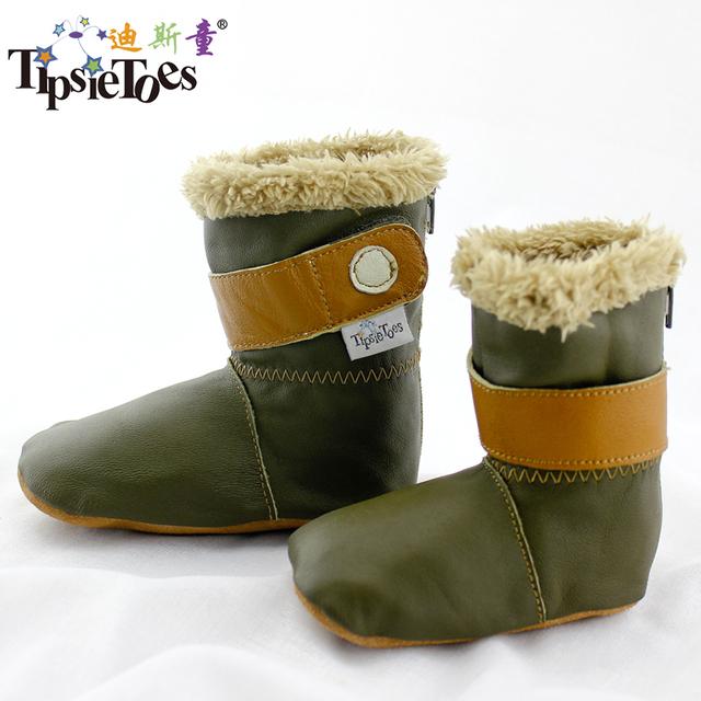 TipsieToes Marca Cuero Genuino de Calidad Superior de Lana Suaves Del Bebé Zapatos Para Niños Y Niñas Niños Otoño Invierno Botas 19907