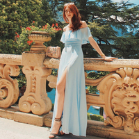 Ever Pretty Women Elegant Sexy Long Bridesmaid Dresses Spring Chiffon A Line Blue Formal Wedding Party Gowns Vestido Gala