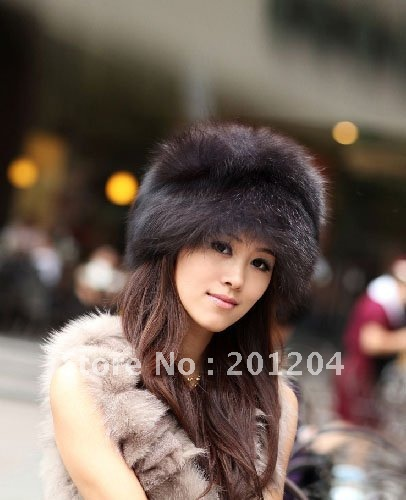 Free shopping A wholesale ladies silver fox fur hat\women silver fox fur cap\fur hat \winter hat