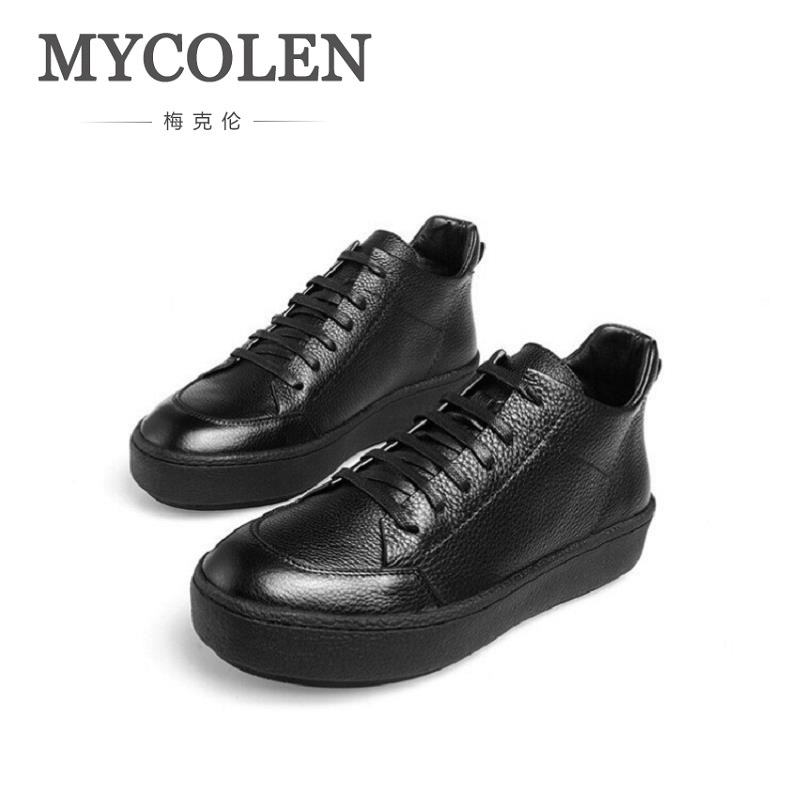 MYCOLEN Designer Leather Men Boots New Style Handmade Warm Men Winter Shoes Lace-Up Outdoor Winter Boots Botas Masculina