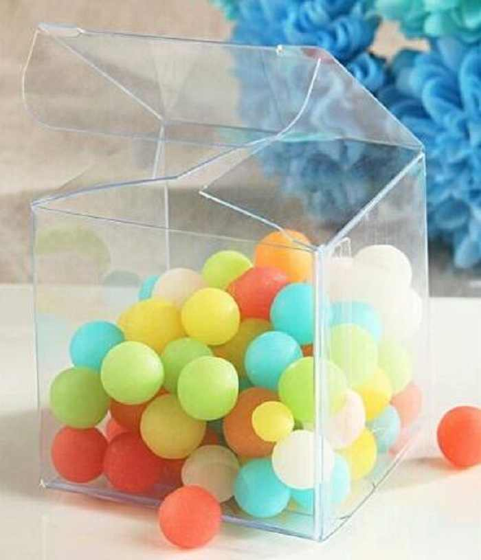 festival supplies 5*5cm candy box bag chocolate clear gift package for Birthday Wedding Party DIY  baby shower plastic Wh